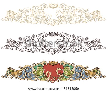 Set of renaissance crowned heart borders - stock vector