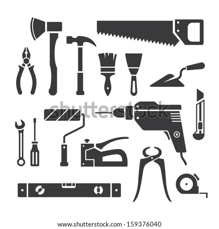 Set of repair tools icons in vector - stock vector
