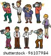 set of reporter people - stock vector