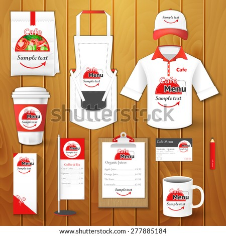 Set of restaurant corporate identity, burgers, uniform, flyer, shirt, cup, menu, package, apron,  coffee cup vector illustration - stock vector