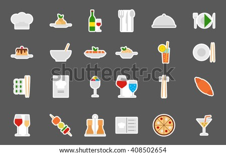 Set of 24 Restaurant food isolated icons