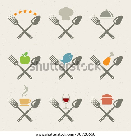 Set of restaurant icons - stock vector