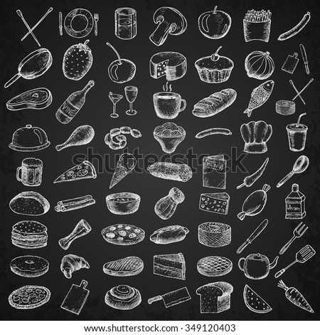 Set of restaurant icons. Hand drawn objects.