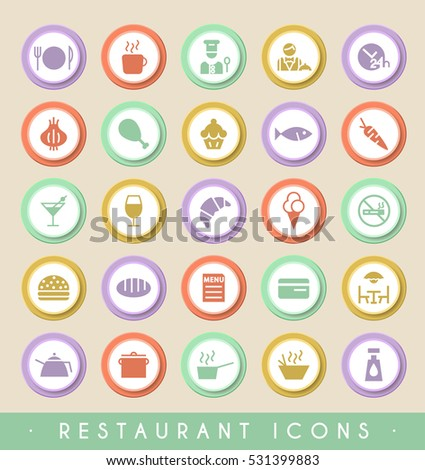 Set of Restaurant Icons on Circular Colored Buttons. Vector Isolated Elements.