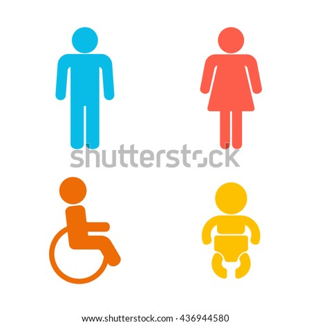 Set of 4 restroom web and mobile icons. Man, woman, child, disability. Vector illustration isolated on white - stock vector