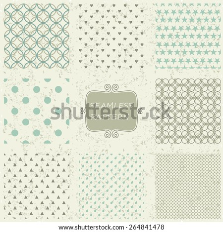 set of 8 retro abstract seamless patterns on shabby background - stock vector