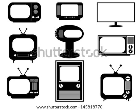 Set of retro and modern TV illustrated on white - stock vector