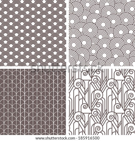 Set of retro art deco seamless patterns, design in 20's style - stock vector