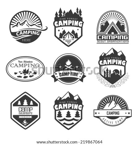 Set of retro badges and label logo graphics. Camping badges and travel logo emblems - stock vector