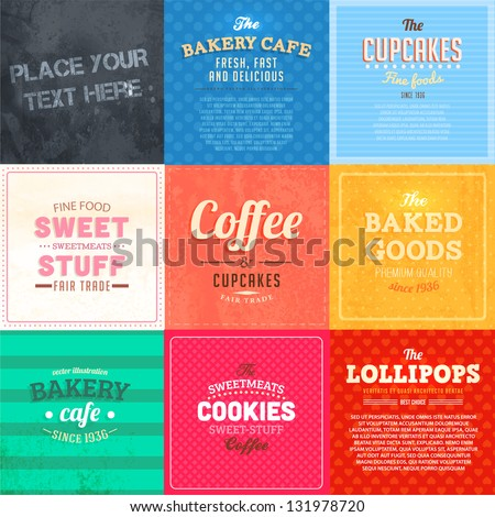 Set of retro bakery label cards for vintage design, old paper textures and seamless ornaments - stock vector