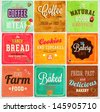 Set of retro bakery label cards for vintage design, old paper textures background - stock vector