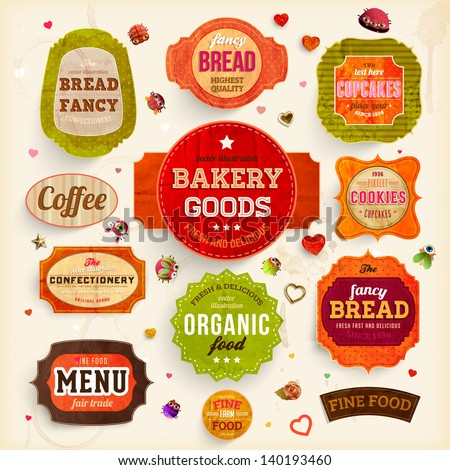 Set of retro bakery labels, ribbons and cards for vintage design, old paper retro textures. Vector illustration. - stock vector