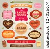 Set of retro bakery labels, ribbons and cards for vintage design, old paper textures - stock