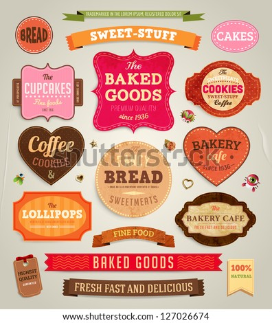 Set of retro bakery labels, ribbons and cards for vintage design, old paper textures - stock vector