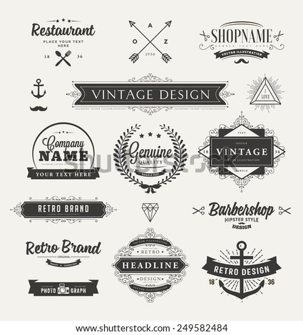 Set of Retro Brand Vintage Insignias and Logotypes. Business Signs, Hipster Logos, Identity Elements, Labels, Badges, Frames, Borders and Other Design Elements. - stock vector