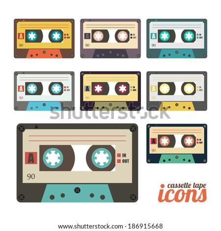 set of retro cassette tape icons  - stock vector