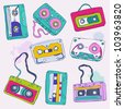 Set of retro cassette tapes. Vector illustration. - stock vector
