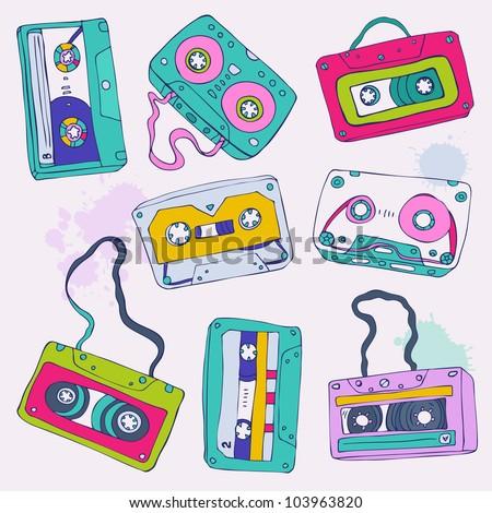 Set of retro cassette tapes. Vector illustration. - stock vector