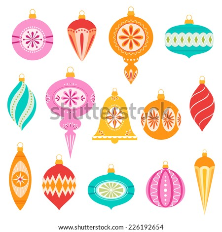 Set of retro christmas ornaments. - stock vector