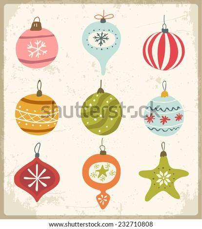 Set of Retro Christmas Ornaments  - stock vector