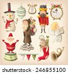 Set of retro christmas toys for children that can be found in grandma closet - stock vector