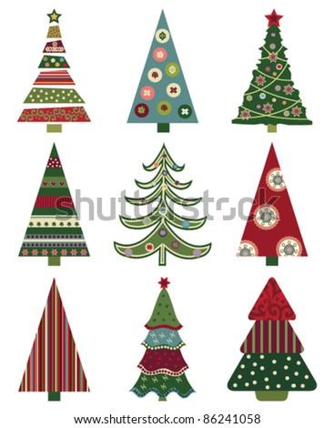 set of retro christmas trees - Retro Christmas Trees