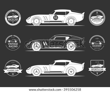 Set of retro classic sports racing car silhouettes and vintage car service labels, emblems, logos, badges isolated on dark background. Vector illustration - stock vector