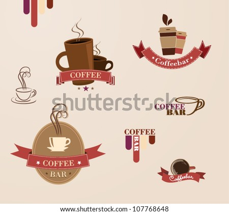 set of retro coffee labels - stock vector
