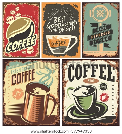 Set of retro coffee tin signs and posters.  - stock vector