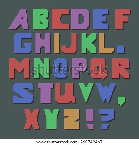 Set of retro colorful letters and some punctuation marks. Childish font.