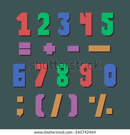 Set of retro colorful numbers and some punctuation marks.