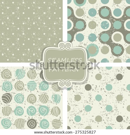 set of retro colorful polka dots seamless patterns on shabby background