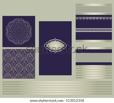 Set of retro design elements for page decoration, cute vignette, old ornate card, menu frame, gold art ribbon, royal row, king image, grunge backdrop, type label vector eps 10 - stock vector