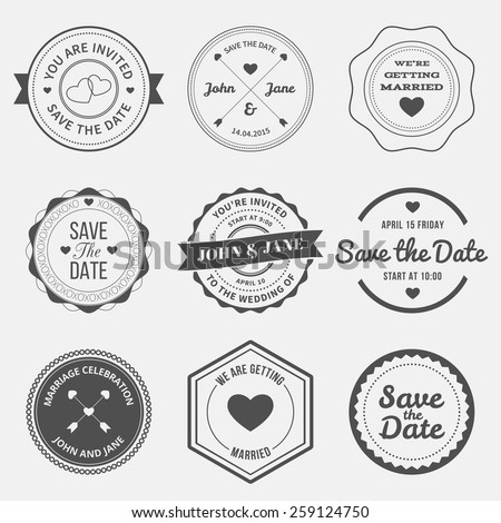 set of retro design elements for wedding invitations. vector illustration - stock vector
