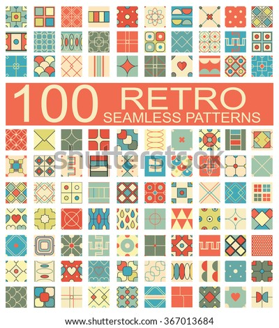 Set of 100 retro different vector geometric seamless patterns (tiling) of blue, orange, red, ivory, pink and green colors. Endless texture can be used for pattern fills, surface and textile textures - stock vector