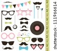 Set of retro disco party elements. Mustaches and sunglasses. - stock vector