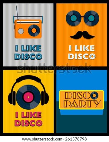 set of retro disco posters  - stock vector