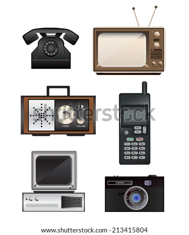 Set of retro electronics - telephone, mobile phone, television, radio, computer and camera - stock vector