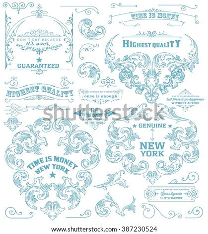 Set of retro elements: baroque frames, retro labels. Chalk style - stock vector