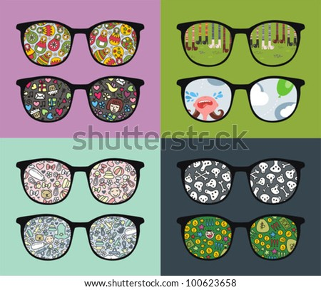 Set of retro eyeglasses with people reflection in it. Vector illustration of accessory - sunglasses isolated.
