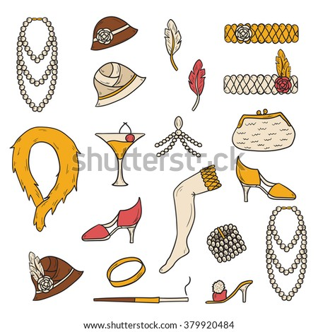 Set of retro fashion 1920s 1930s objects with hand drawn women hats, clothes, jewelry. Chicago party style. Old-fashioned retro-styled design - stock vector
