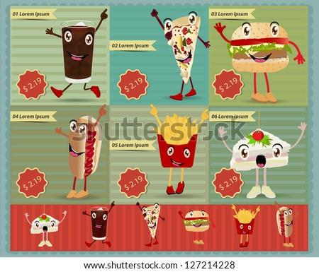 Set of Retro fast food menu funny cartoon character. Vector retro style template Design - stock vector