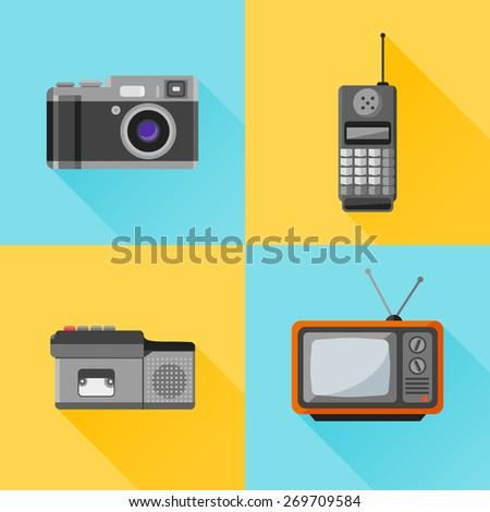 Set of retro flat icon. Photo camera, mobile phone, dictaphone, tv set - stock vector
