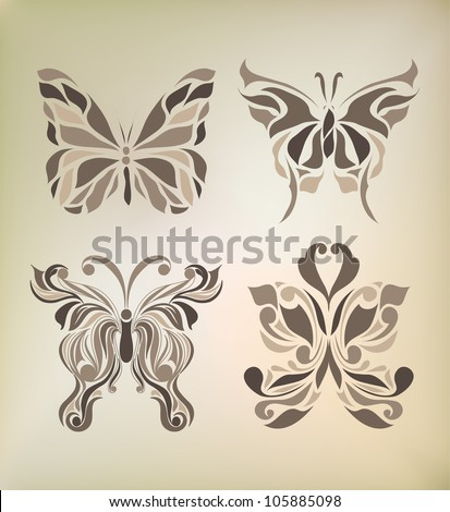 Set of retro floral background hand drawing for invitation, postcard, banner, card, frame (vector version eps 8) - stock vector