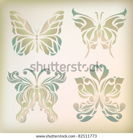 Set of retro floral insects isolated on background (vector version eps 10). Maybe use as label, emblem, logo, banner, logotype, icon, web, sign, symbol. - stock vector