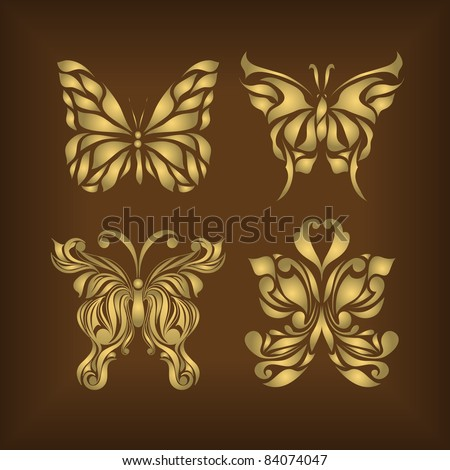 Set of retro floral insects on background (vector version eps 10). - stock vector