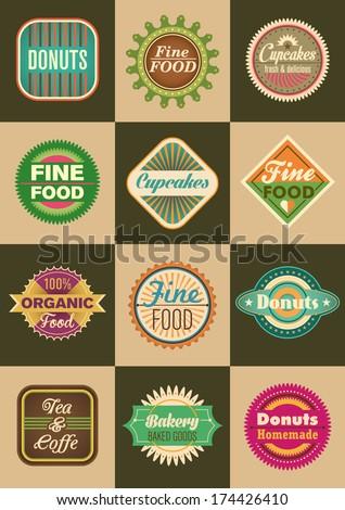 Set of retro food labels. Vector illustration. - stock vector