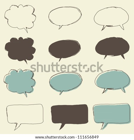 set of retro funky bubble speech