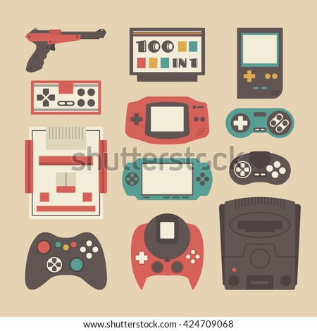 set of retro game player and accessories - stock vector