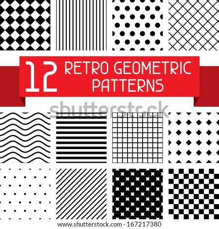 Set of 12 retro geometric patterns. - stock vector